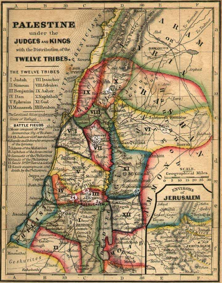 Locations of 12 tribes of Israel